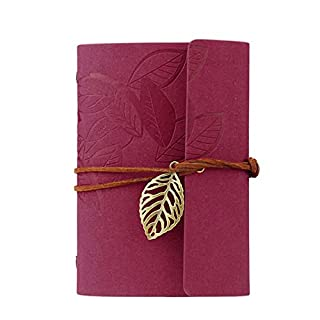 atdoshop(TM Vintage Dark Green PU Leather Cover Loose Leaf Blank Notebook Journal Diary Gift (Red)