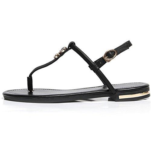 RAZAMAZA Femmes Bohemia douces perles Sandales clip Toe Sandals Chaussures de plage Noir
