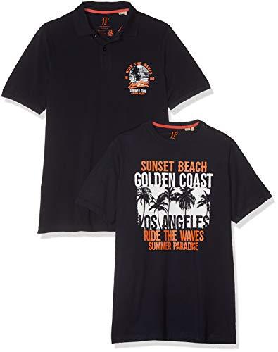 Cool Plus Polo (JP 1880 Herren Doppelpack Poloshirt, Größen T-Shirt Blau (Sky 76), Herstellergröße: XX-Large)