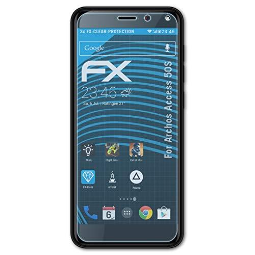 atFolix Schutzfolie kompatibel mit Archos Access 50S Folie, ultraklare FX Bildschirmschutzfolie (3X)