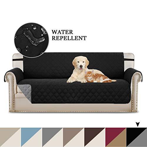 BellaHills Wendbare Stuhlabdeckung für Hunde Pet Abdeckung für Stuhl/Stuhl Schonbezug/Stuhlschutz, Maschinenwaschbar, Double Diamond Quilted (3 Sitzer: Schwarz/Grau) -