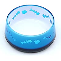 SuperDesign Acrylic Cat Bowl with Fish Bone Pattern, Non-Skid Bottom, 12 oz, Blue by Super (Patterns Bone)