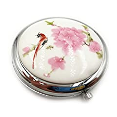 Idea Regalo - Specchietto Tascabile per Donne per Bambina Specchietto Tascabile Piccolo Ingranditore Trucco Compatto Doppio Specchio Ceramica Cinese Tradizionale Borsa da Viaggio di Design Specchietto