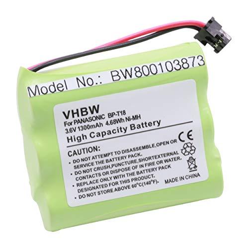 vhbw NiMH Akku 1300mAh (3.6V) für schnurlos Festnetz Telefon Toshiba FT-8959, FT-8980, FT-8981, FT-8989, HHR-P505, KC-TC917HSB, KX-9768XB Hhr P505