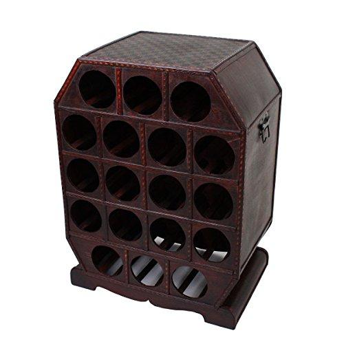 Braun Kolonialstil (Garden Pleasure Weinregal im Kolonialstil Aufbewahrung Kiste Dekoration Holz Braun Metall 18x Flaschen Harms 304007)