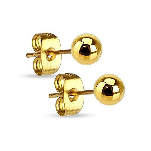 Trendy Modeschmuck (Treuheld®   Schwarze Perlen Ohrstecker - Edelstahl Ohrringe mit Kugel in Schwarz - Kugel: 3mm [01.] -)