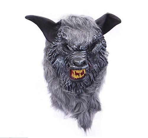 Kleinkind Werwolf Kostüm - FIREWSJ Halloween Maske Halloween Wolf Maske Tierkopf Gruselig Gruselig Werwolf Maske Cosplay Maske Party Monster Latex Maske Requisiten Maske