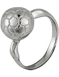 Chic-Net Anillo de plata fútbol bola blanco oxidado 925er diseñador Plata esterlina anillos joyería