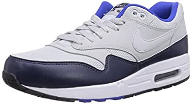 Nike Air Max 1 Essential, Chaussons Sneaker Homme, Blanc (Pure Platinum/Pr Pltnm/Mid Nvy), 42 EU