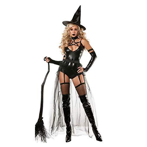 SHANGXIAN Halloween Strega Costume per Le Donne Sexy per Adulti Magic Dance Dress Nero Pelle Verniciata Bodysuit,L