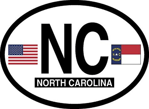 North Carolina Oval Glossly FLAG Decal, Waterproof