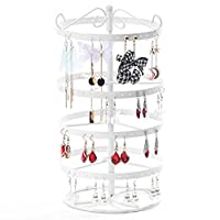 TEERFU Vintage 168 Holes Four-Layer Jewelry Display Stand Holder, Rotating Earring Hanger Necklace Organizer
