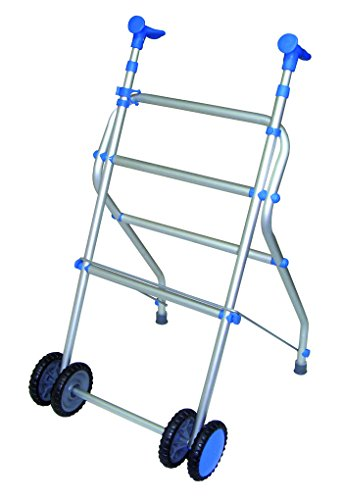 Andador con ruedas dobles y plegable de aluminio