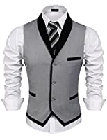 Coofandy Men's Casual V-Neck 10 Button Pockets Contrast Color Vest