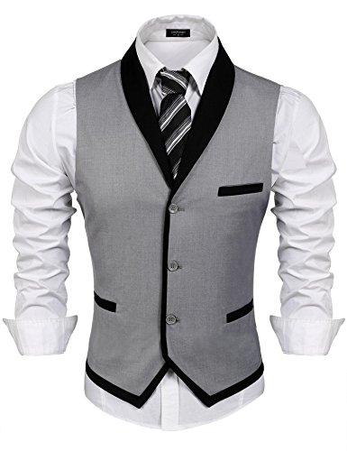 COOFANDY Gilet de Costume pour Homme Casual Mariage Business Veste sans Manche - Gris - Taille XX-Large
