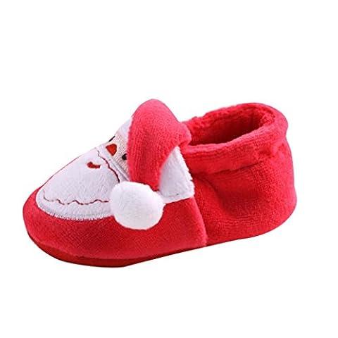 Saingace Christmas Toddler Infant Newborn Santa Claus Soft Sole Baby Girl Boy Prewalker Shoes (Age 12~18 Month)