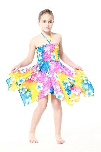 Nia-gitano-Botn-desigual-Hawaiian-Luau-vestido-en-Arco-iris-floral-8