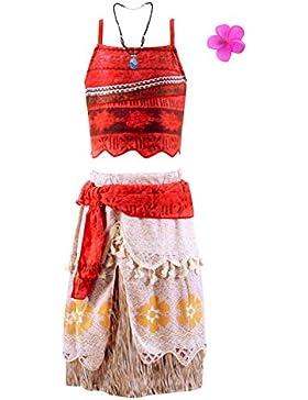 Jimilaka Mädchen Kleid Prinzessin Vaiana Adventure Kostüm Party Kleid Outfit