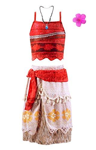 Jimilaka Fille Robe de Princesse Vaïana Aventure Costume Cosplay Fête Tenue (rouge, 6-7 ans)