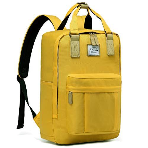 Schulrucksack Mädchen Teenager, VASCHY Wasserabweisend 15 Zoll Laptop Schulranzen Vintage Rucksack für Jungen Hochschule Damen Herren Schultasche Casual Daypack Reiserucksack(Gelb)