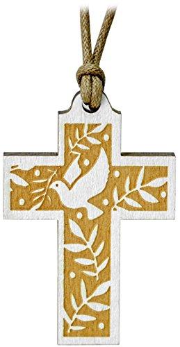 Kaltner Präsente Geschenkidee - Halskette Echtes Holz Kreuz Kruzifix aus Fichte mit Taube gefertigt im Grödner Tal Südtirol