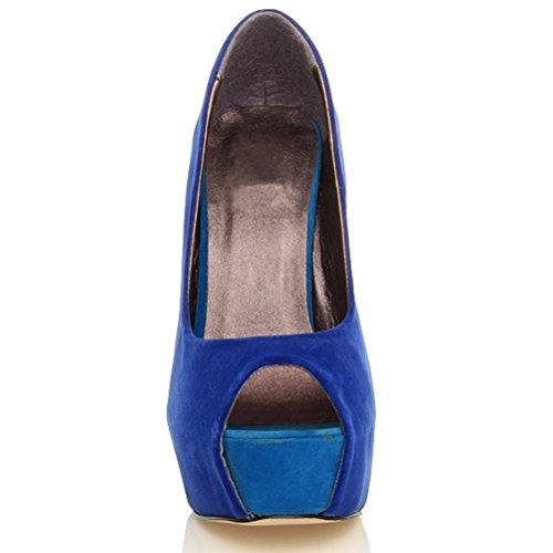 Femmes plateforme talon haut bout ouvert classique chaussures sandales pointure Bleu Multi
