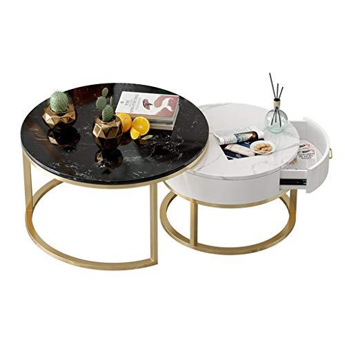 ZRXian-Kaffeetische Marmor Couchtische mit Schubladen, Wohnzimmer Runde Couchtische Nesting, Metallrahmen Schmiedeeisen, 2er Set