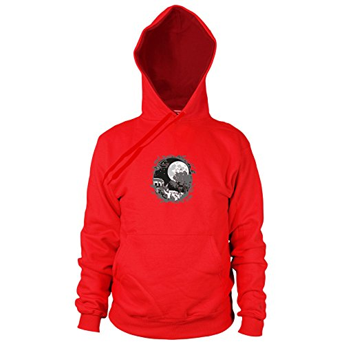 Ghibli Cosplay Kostüm Studio - Planet Nerd Nachbar Ornament - Herren Hooded Sweater, Größe: XL, Farbe: rot