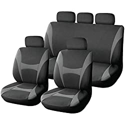 XtremeAuto® 9 Piece Grey and Black Supreme Classic Seat Covers - Soft Fabric - Includes XtremeAuto Sicker