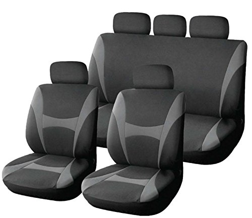 XtremeAuto - Coprisedili classici Supreme, in morbido tessuto - 9pezzi, grigio e nero–incluso adesivo XtremeAuto