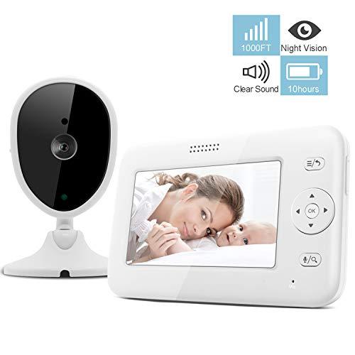 Bable Baby Monitor con Fotocamera, Monitor Video Per Bambini Da 4.3 Pollici Con Visione Notturna/Rilevazione Suono/Interfono/Monitoraggio Temperatura/Lunga Durata Della Batteria