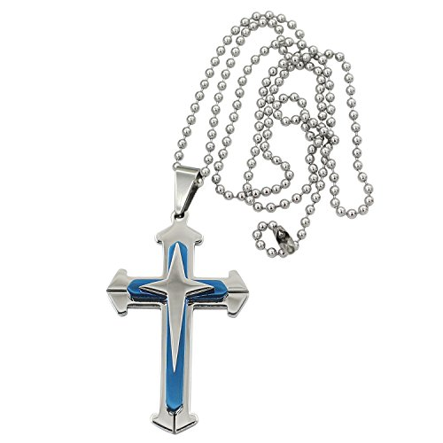 gents-stainless-steel-cross-pendant-necklace-chain-blue