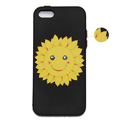 Custodia iPhone 5S, iPhone SE Cover Silicone, SainCat Cover per iPhone 5/5S/SE Custodia Silicone Morbido, Creative Design Custodia Cover Flower Ultra Slim Silicone Case Ultra Sottile Morbida TPU Cover Sorriso