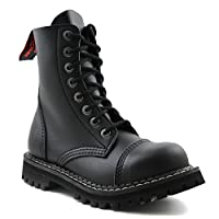 Angry Itch - 8-Hole Gothic Punk Black Vegan Army Ranger Boots with steeltoe - UK Sizes 3-13 - Made in EU!, EU-Größe:EU-43
