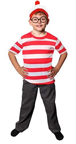 Faschingskostüm-Set für Kinder, rot-weiß gestreiftes Oberteil mit langen Ärmeln, rot-weiße...