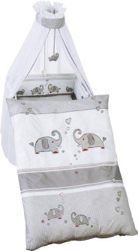 roba Kinder-Bettgarnitur 4-tlg, Babybett-Ausstattung 'Jumbotwins', Bettset 4-teilig: Bettwäsche 100x135 (Decke & Kissen), Nestchen, Himmel (Bettwäsche-set Für Ein Kinderbett)