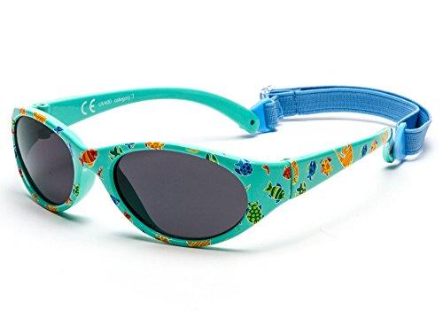 Kiddus Sonnenbrille Kids Comfort Junge und Mädchen. Alter 2 bis 6 Jahre. Total Flexible Modell für Extra Komfort. Mit Band und sehr Resistent. 100% UV-Schutz. Nützliches Geschenk (KI30417)