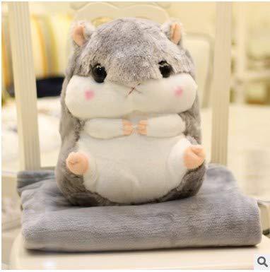 Mjia Pillow Plüschtiere Spielzeug,Kleinkindspielzeug,Beschwichtigen Schlaf Spielzeug,Niedliches Hamster Plüschtier (Kissen und Korallen Fleece Decke), grau