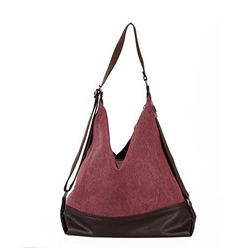 lkklily-single Shoulder Bag Handtasche Umhängetasche Kreuz Diagonal Tasche Leinwand Tasche Freizeit männlich Paket von Große Kapazität Purple coffee