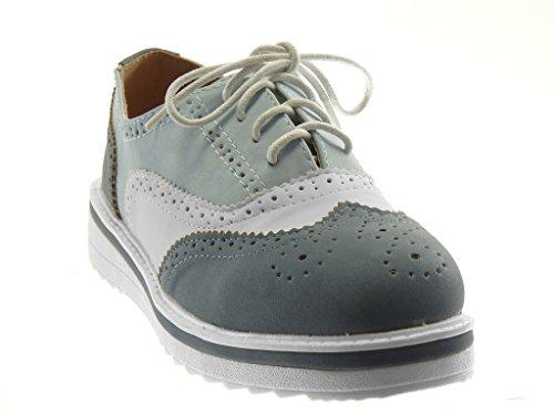 Angkorly Damen Schuhe Derby-Schuh - Sneaker Sohle - Plateauschuhe - Perforiert Flache Ferse 3.5 cm Blau