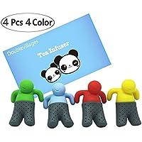 DoubleVillages Te Filtro Te Infusor / Infusor de Té de silicona /Filtro de Té/ Tea Infuser / colador de Té Filtro para té Para la taza, Mug -4 Pack Hombre
