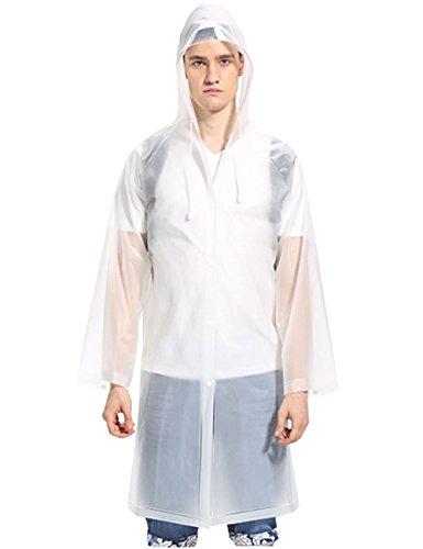 Aibrou Transparent Regenponcho Motorrad Regenmantel Wasserdichte Regenjacke EVA Regenkleidung Fahrrad Raincoat Regencape für Männer & Frauen Weiß