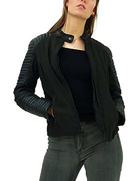 trueprodigy Casual Mujer Marca Chaqueta Moto Basico Ropa Retro Vintage Rock Vestir Moda Militar Deportivo Slim...