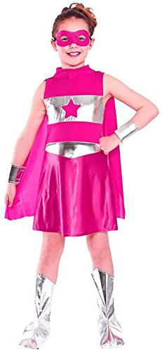 GIRLS PINK AVENGING SUPER HERO FANCY DRESS COSTUME