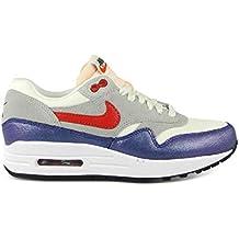huge discount d7b33 11eb5 Nike Air MAX 1 Sail, Hyper Rojo, Gris y Azul Zapatillas de Malla