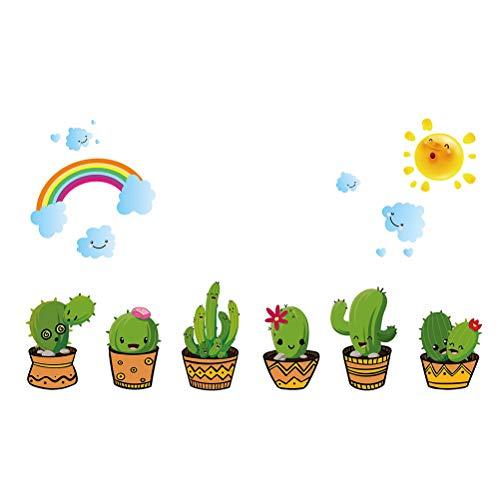 Creativo Cactus Maceta Pegatinas de Pared para la Sala de Estar decoración de la Cama Home Decals DIY Planta Arte Mural