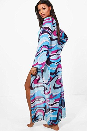 Damen Lila Cally Strandkimono In Maxilänge Und Im Farbblock-design Lila