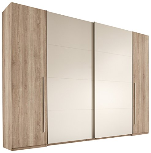 Stella Trading Match 4-türiger Kleiderschrank, Holz, sonoma/weiß, 61 x 270 x 225 cm