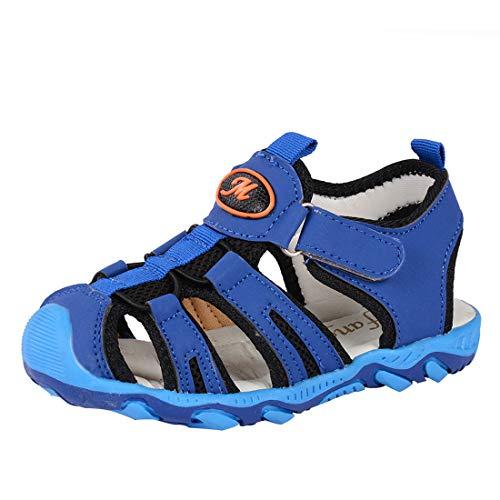 Vertvie Baby Jungen Kinder Boy Sommer Sport Sandale Schuhe Rutschfest Wildledersohle Lauflernschuhe mit Klettverschluss(22 EU, Blau 3)
