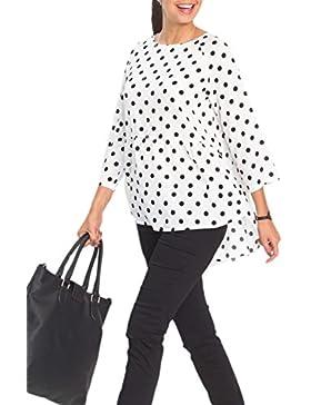 Las Mujeres Elegantes 3 / 4 Manga Polka Dot Irregular Oficina Blusa Camisa Vintage Top